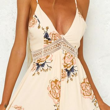 Serial Dater Beige Floral Pattern Sleeveless Spaghetti Strap  Neck Cut Out Tie Back Romper Playsuit