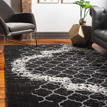 9715 Charcoal Gray Moroccan Trellis Contemporary Area Rugs