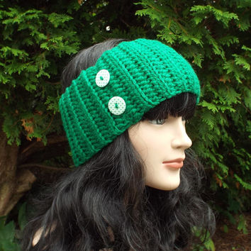 Green Ear Warmer - Crochet Headband with Buttons - Ladies Head Wrap - Womens Ski Band