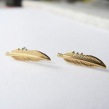Feather Earring Studs,Tiny Feather Ear Posts,Gold Brass Feather Earrings,Tribal Feather Earrings,Sterling Silver Hypoallergenic Studs