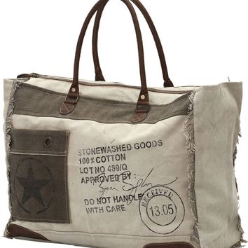 Myra Bag Received Up-cycled Canvas Weekender S-0775