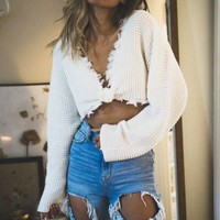 Frayed Sweater-Knit Crop Top