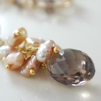 Smoky Quartz and Gold Cluster Necklace with Pearls by livjewellery