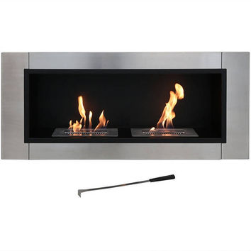 Sunnydaze Scalda Ventless Wall Mounted Bio Ethanol Fireplace, 43 Inch | Overstock.com Shopping - The Best Deals on Indoor Fireplaces