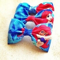 Ariel Little Mermaid blue print handmade fabric hair bow from Bowlicious Divas Bowtique
