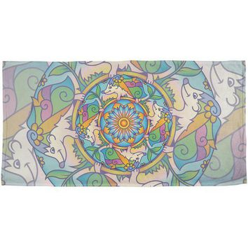 CREYCY8 Mandala Trippy Stained Glass Hedgehog All Over Beach Towel