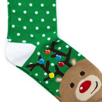 Men Holiday Reindeer Crew Socks