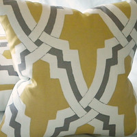 Linx  Bokara Pillow cover citrus and pewter 16X 16