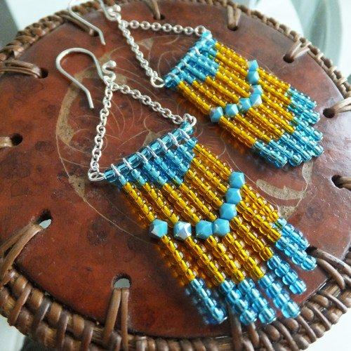 Turquoise Crystal and Glass Beads Waterfall Dangle Earrings