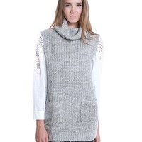 One Cozy Day Turtle Neck Sweater Tunic Top - Gray