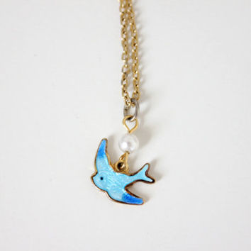 Vintage Sarah Coventry Signed Enamel Bluebird Necklace - Dainty Gold Necklace