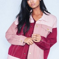 Etta Pink Contrast Boyfriend Fit Denim Jacket Missy Empire