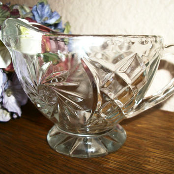Creamer or Sauce Serving Dish Vintage 1960's Tableware Clear Pressed Glass  Art Deco Pattern Handle and Spout Dish