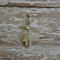Silver Dangle Crystal Hamsa Hand Belly Button Ring