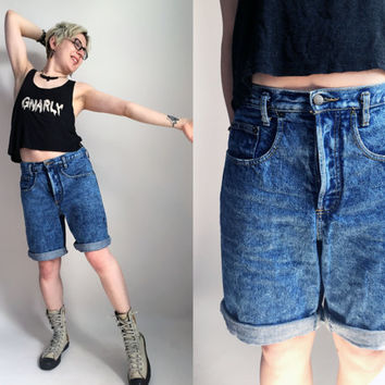 "80s Clothes / 1980s Guess Shorts Blue Acid Wash Jean Shorts Long Denim Shorts Mens Shorts Button Fly Vintage Jean Shorts Jorts 31"" Waist"