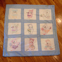 Vintage baby quilt playmat   Vintage handmade cotton quilt blocks /  hand embroidered quilt   Blue & white teddy bear quilt