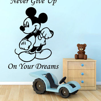 Wall Decals Quote Never Give Up Vinyl Sticker Nursery Mickey Mouse Boy Art SM86
