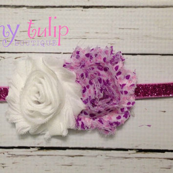 Baby Girl Headband... Baby Purple Glitter Headband..Newborn Headband.. Infant Headband...Toddler Headband