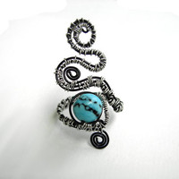 Adjustable thin ring black aluminum wirewrapped ring with blue agate bead READY TO SHIP