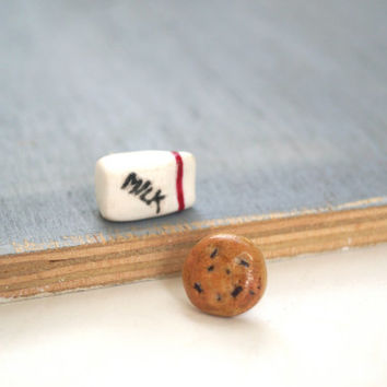 Milk and Cookie Stud Earrings, Post Earrings handmade with Polymer Clay
