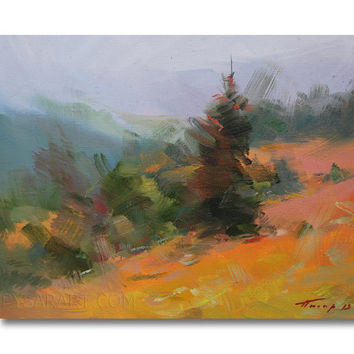 Colorful Landscape Painting - Mountains Painting Green and Orange - Tree Oil Art by Yuri Pysar