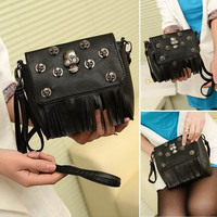 Women Skull Rivet Punk Tassels Handbag Crossbody Shoulder Bag Satchel Black (Color: Black) = 1705756612