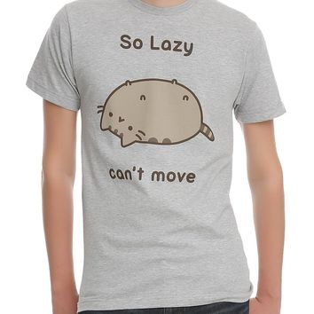 Pusheen The Cat SO LAZY CAN'T MOVE T-Shirt Grey NWT Licensed & Official
