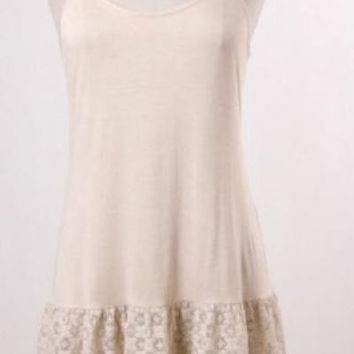 Eikosi cream cami jersey ruffled lace top extender