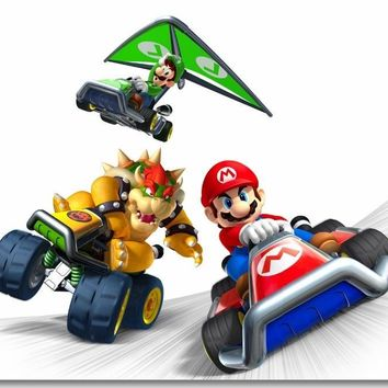 Super Mario party nes switch Custom Canvas Wall Mural Luigi  Kart Game Poster  Kart Wallpaper Koopa Wall Stickers Kids Home Decoration #0476# AT_80_8