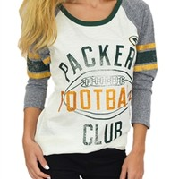 Green Bay Packers Vintage Sparkle Raglan | SportyThreads.com