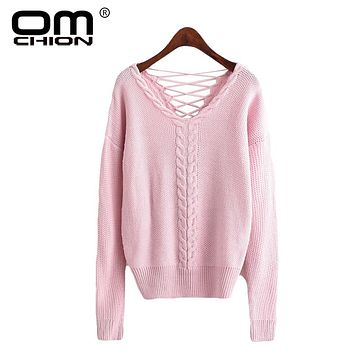 Backless Sexy Women Sweaters And Pullovers V Neck Twist Lace Up Knitted Pink Sweater Casual Jumper