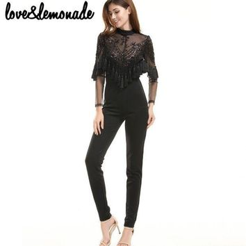 PEAPGC3 Love&Lemonade Lace Sequined Tassels Jumpsuits Black  TB 9692