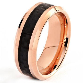 8mm Rose Gold 18k Mens Cobalt Wedding Band Ring Bands Unique Rings Polished Carbon Fiber Inlay Men Beveled Custom Handmade Men's Engraved