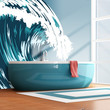 Graphic Vinyl Wall Decal Aqua Ocean Wave #MCrespo104