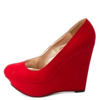 Classic Platform Wedge Pumps by Charlotte Russe - Red