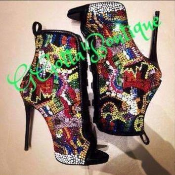 GGotta's New Designer Women Ankle Boots Multi Color Gladiator Sandals Lace-Up  Rhinestone Shoes Woman