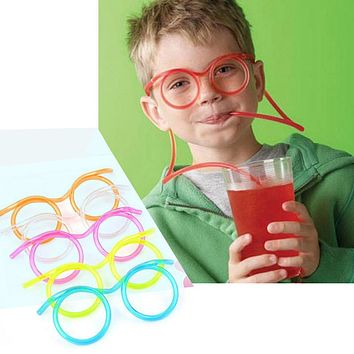 Big sale Creative Funny Soft Glasses Straw Unique Flexible Drinking Tube Kids Party Accessories Random Color