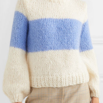 GANNI - Julliard striped mohair and wool-blend sweater
