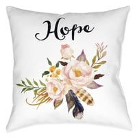 Watercolor Flowers Hope Indoor Decorative Pillow