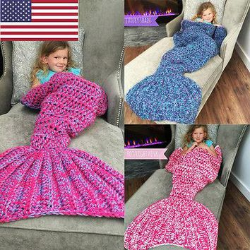 Hot Kids Girls Mermaid Tail Sofa Blanket Super Soft Warm Hand Crocheted Knitting Wool Sleeping Bag Robe for Children