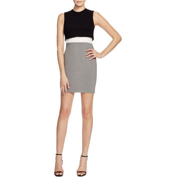French Connection Womens Colorblock Peplum Cocktail Dress