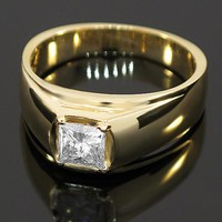 14K Yellow Solid Gold Mens Diamond Ring 1.11 Ctw