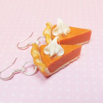 Pumpkin Pie Slice Dessert Earrings