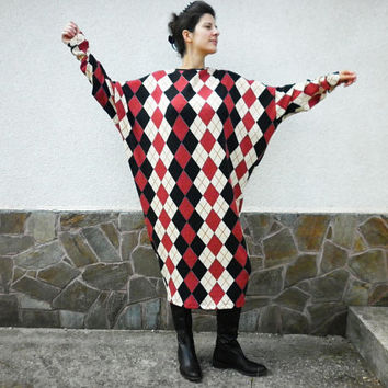 NEW Fall Winter Long Colorful Loose Dress / Extravagant Maxi Rhombus Caftan/Warm Oversize Dress/Plus size Dress/Elegant Dress by moShic D013