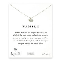 family whale necklace, sterling silver