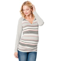 Oh Baby by Motherhood Striped Ruched Tee - Maternity, Size: