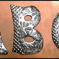 "1 Metal Letter - 12"" - Monogram - Initial - Haitian Recycled Steel Drum - Outdoor Metal Art Work -Metal Wall Letters - Yard Art - ADL-500-12"