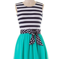 Sweet Stripes Dress - Green