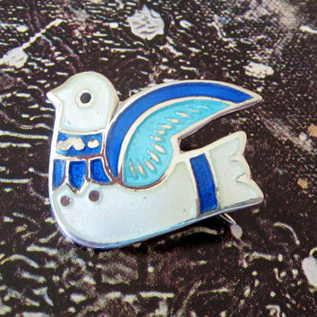 Dove Pin, Taxco, Sterling Silver, Blue & White Enamel, Basse-Taille, Signed TF-32 Mexico 925