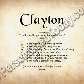 Clayton Hidden Within Your Name Is A Special Story Letter Poem 8.5 x 11 Print